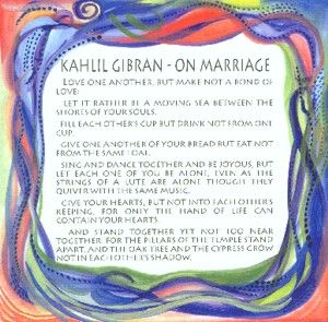 but let there be spaces in your togetherness | On Marriage quote (8x8) - Kahlil Gibran