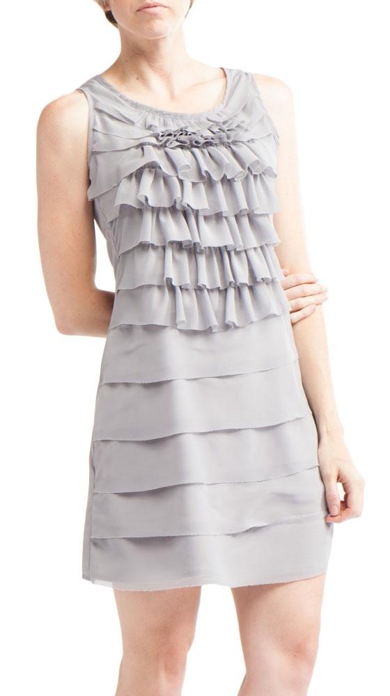 by Isidoro Francisco  Ruffle Dress, Feather Grey