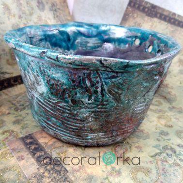 turkusowa ceramiczna donica