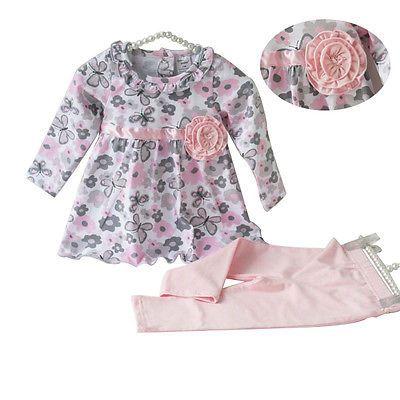 Toddler Baby girl clothes set pink floral T shirt camisa de la mariposa de largo la camiseta de la muchacha del arco vestido de niña de algodón pantalones outfit conjunto