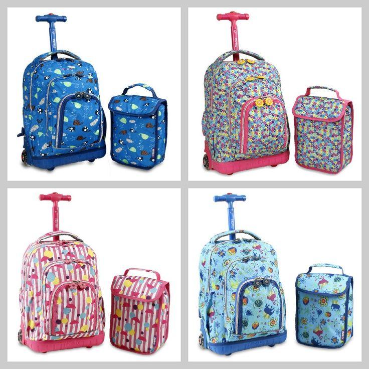 Kids Rolling Backpack With Lunch Bag  www.bobbiejosonestopshop.com  #BobbieJosOneStopShop #Rolling #Backpack #LunchBag #Boys #Girls #Kids School #Travel