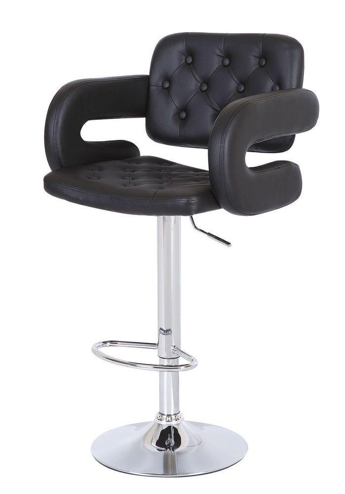 Black Leather Chair Home Breakfast Kitchen Bar Pub Furniture Set Modern Stools