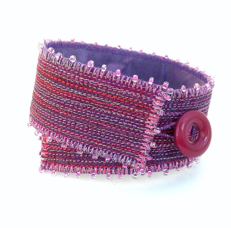 Purple cuff bracelet pink mauve textile art wristlet contemporary embroidered jewellery by Tors Duce beaded jewelry special gift for her (25.00 GBP) by TorsDuce