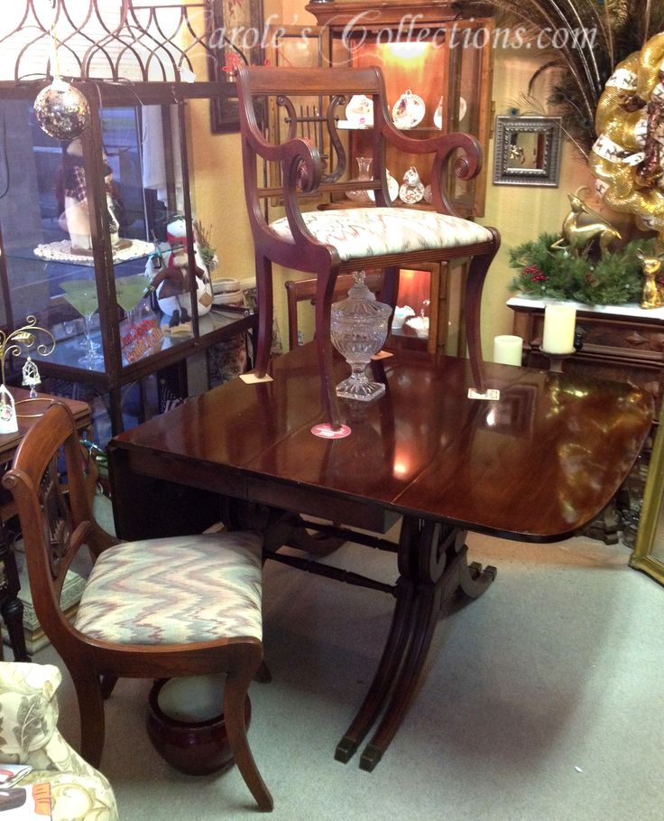Duncan Phyfe Mahogany Drop Leaf Dining Set ~ 6 Chairs, 3 Leaves, And Table