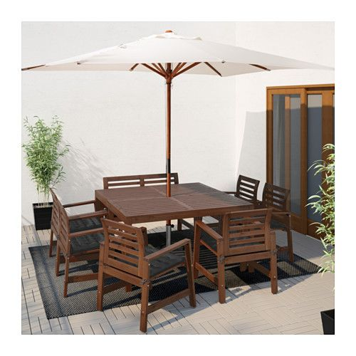 ÄPPLARÖ Table,6 armchairs+bench, outdoor, brown stained, Hållö black Äpplarö brown stained/Hållö black