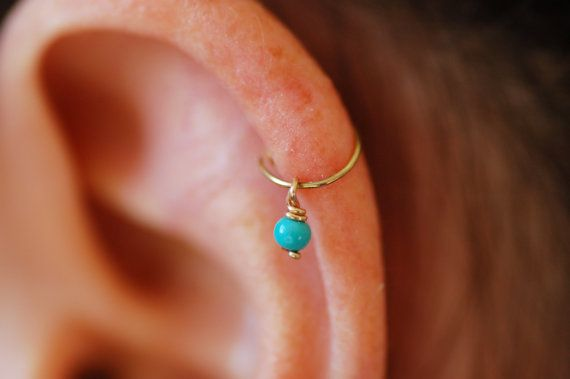 Gold hoop cartilage earring helix earring turquoise by maylovely