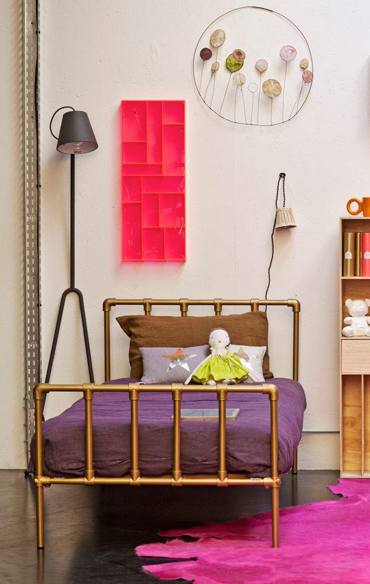 copper colour bed