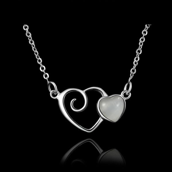 Genuine 925 sterling silver Fine Jewelry Cat's Eye Gem Double Heart Charm Pendant Chain Necklace for Women WCN004 Alternative Measures