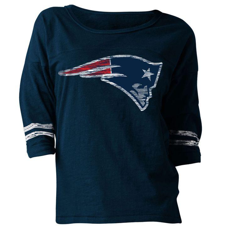 New England Patriots New Era Women's Hard Count 3/4-Sleeve Scoop Neck T-Shirt - Navy