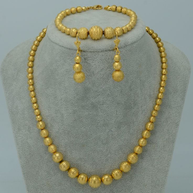 Bead Necklace Earrings Bracelet set Jewelry Women Ball Necklaces - Gold Plated Africa/Arab/Middle East/Ethiopian sets #006302