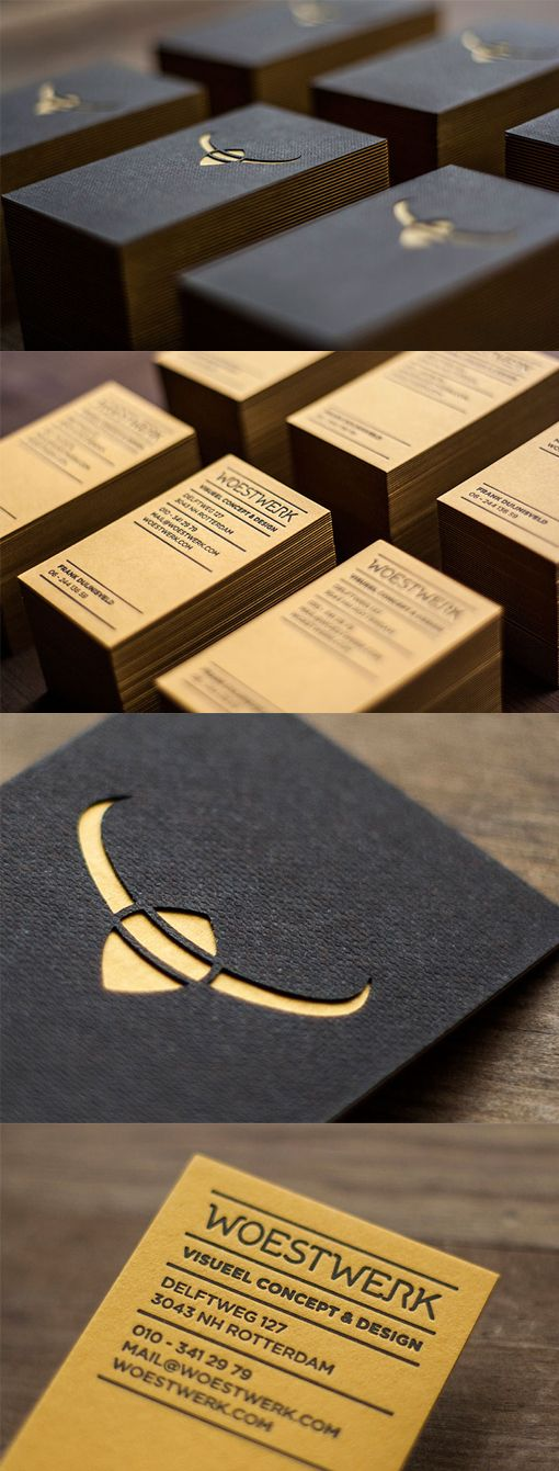 These business cards achieve a unique look by utilising a variety of print technologies together for an impressive result.