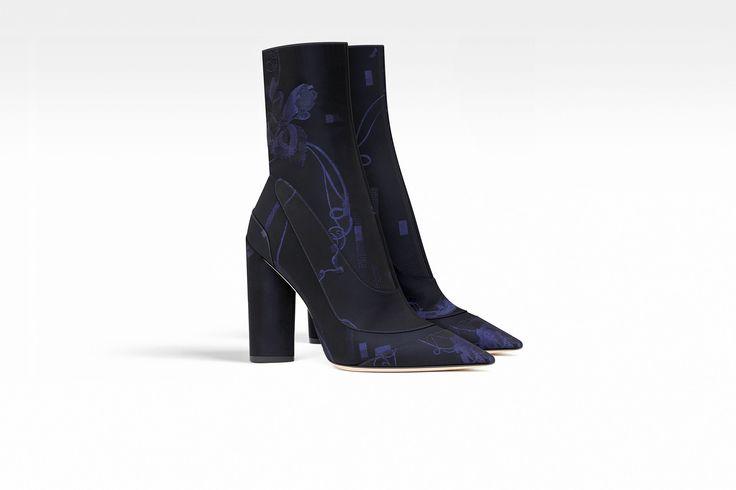 Ботильоны из жаккарда темно-синего цвета с цветочным мотивом, 10 см - Dior