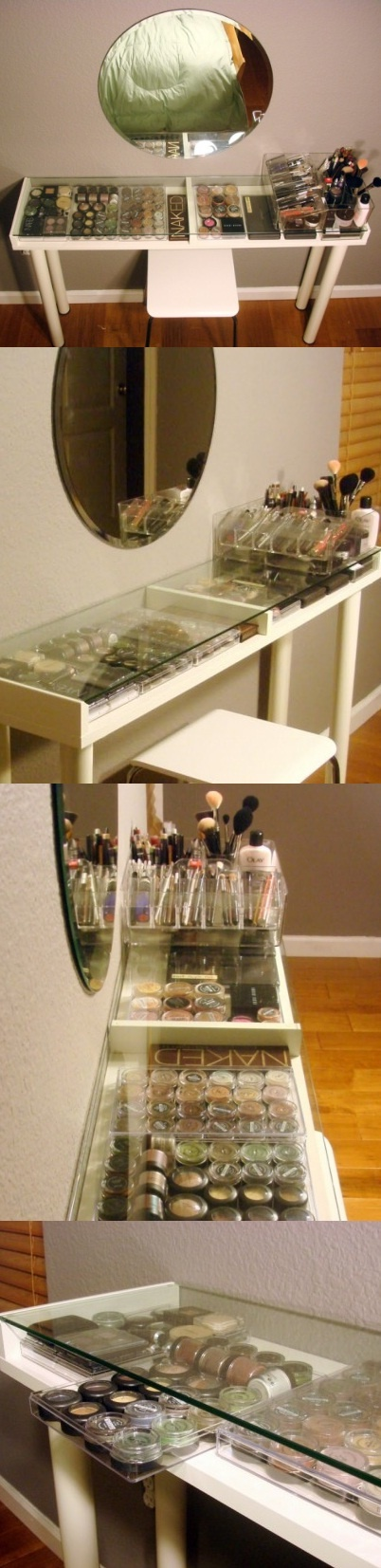 If you search for a perfect makeup storage solution then a makeup vanity is what you need. Such solution also allows to sit, relax and do makeup. The cool thing is that you can make a cool vanity mostly of parts came from IKEA so it won't be pricey. It will be compact, with the glass top that allows to see everything and with easy access to the makeup stuff.  For the project you'll need four Vika Curry legs, an Ekby Gruvan shelf, a Kolja mirror, a stool, and acrylic bead storage containers…