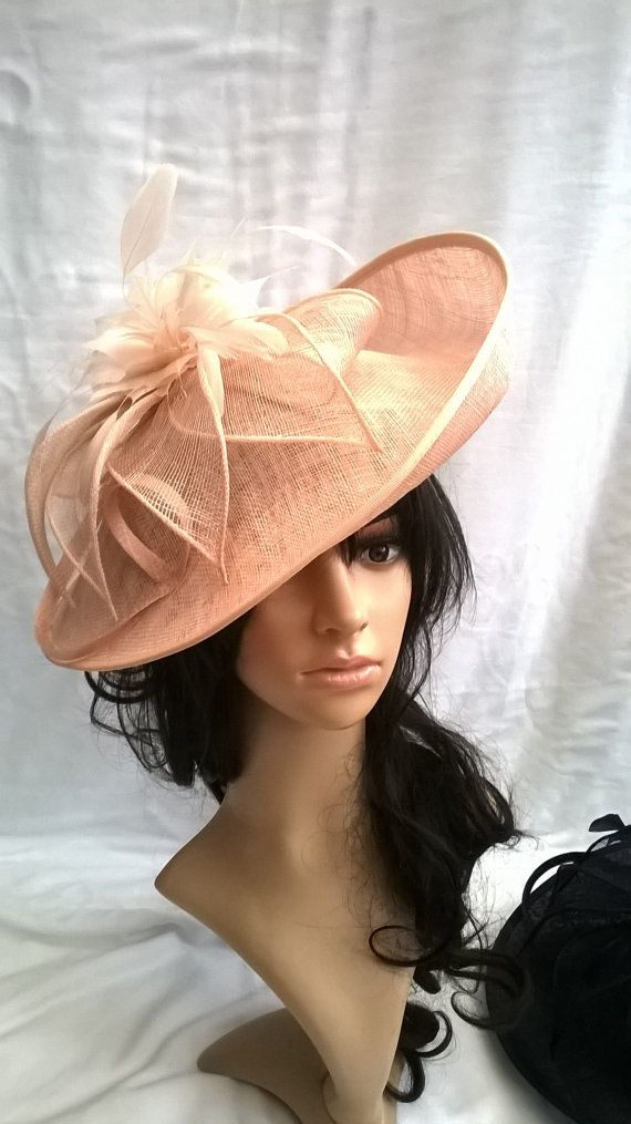 Beautiful Turned up brim nude pink Sinamay & Feather Hatinator on a Headband..nude pink feathers