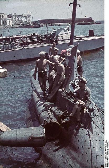 Italian midget submarine at Sevastopol, Ukraine, circa 1942