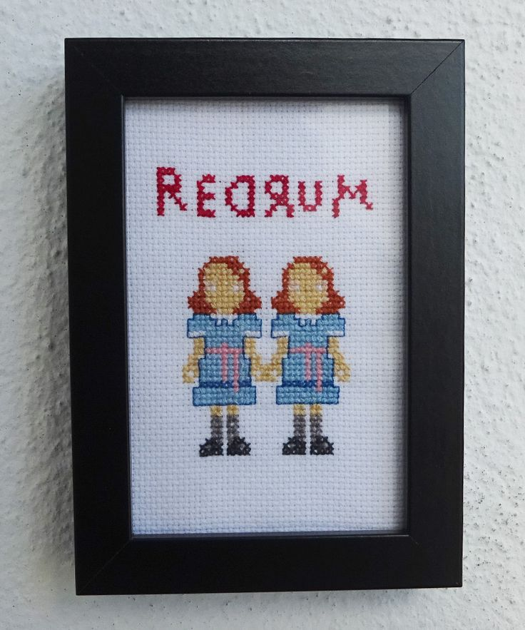 The Shining Twins Redrum cross stitch finished frame available on #etsy #crossstitch #embroidery #handmade #stephenking #stanleykubrick #horrormovies #theshining #redrum