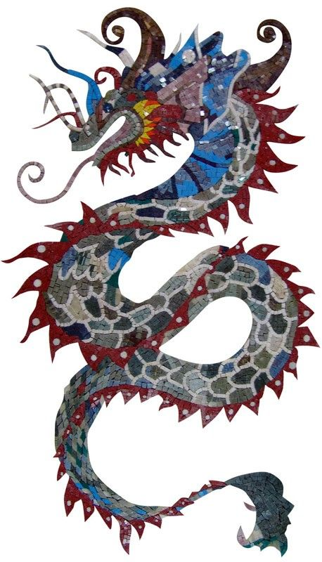 Colorful dragon marble mosaic mosaic pinterest for Chinese dragon mural
