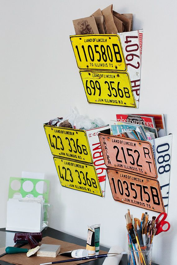 License Plate Wall Organizer ORANGE by SaraRene on Etsy