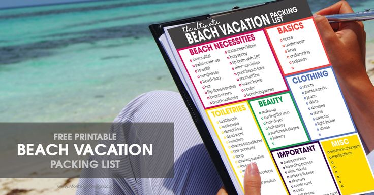 Spring break is coming, spring break is coming!! Formany of us it means a time to get away to enjoy some warm weather with sand between our toes and waves crashing in the ocean! Use this free printable Beach VacationPacking List to start gathering all of your traveling supplies. Beach Vacation Packing List Keep a copy of this Beach VacationPacking List with you for a few weeks before you travel. If there are items you don't have on hand, but need to bring with you, pick them up here an...