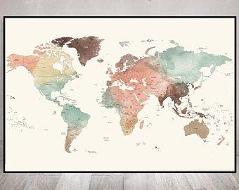 große Weltkarte Poster, detaillierte Weltkarte drucken, Reise Karte Pastell, Weltkarte mit Ländern Namen & Grenzen, Bürodekor, ArtPrintsVicky.