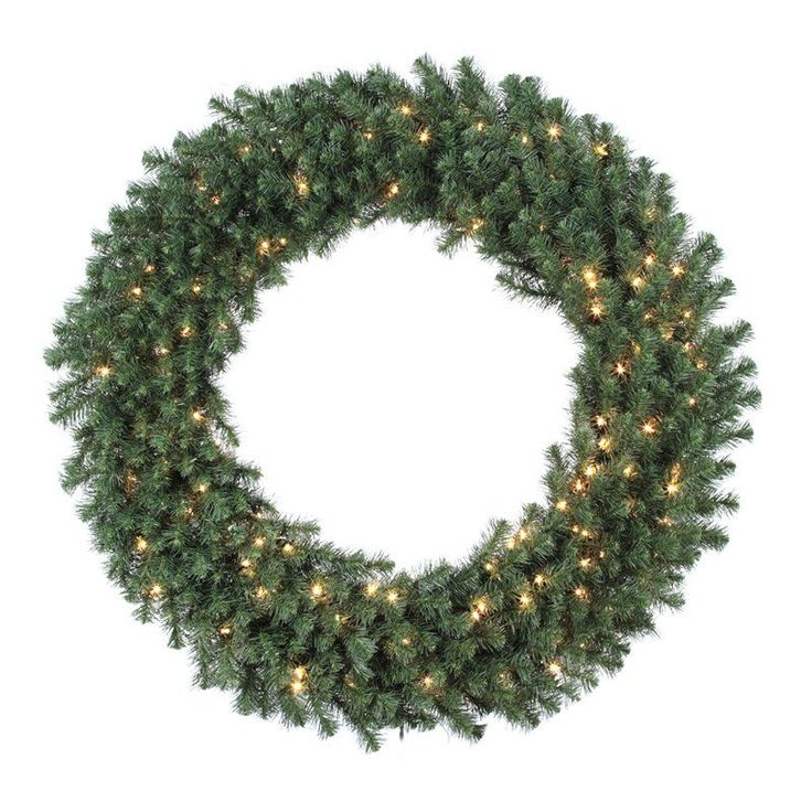 48 in. Douglas Fir Pre-lit Christmas Wreath | from hayneedle.com