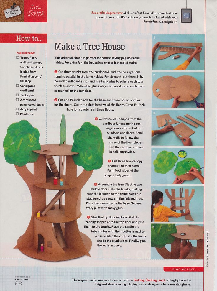 Tree house craft from Family Fun magazine (October 2011)