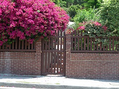 picket and brick fence