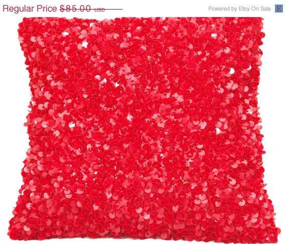 sale sequin pillow red pillow red throw pillow shimmer throw pillow sequins