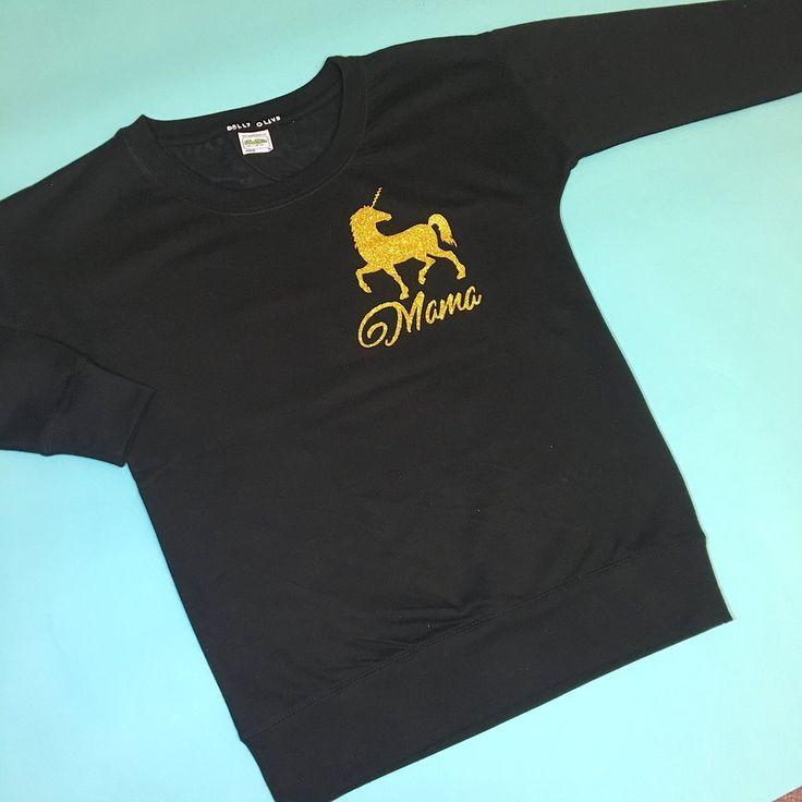 Unicorn Mama Sweater: Black,ladies unicorn sweatshirt, ladies unicorn jumper, unicorn mama, unicorn mum, unicorn mom