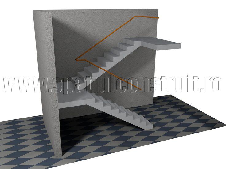 Staircases: general concepts & classifications/ Scari: notiuni generale, clasificari >> 180° turning staircase, with intermediate landing/ Scara cu rampe la 180 de grade, cu podest intermediar
