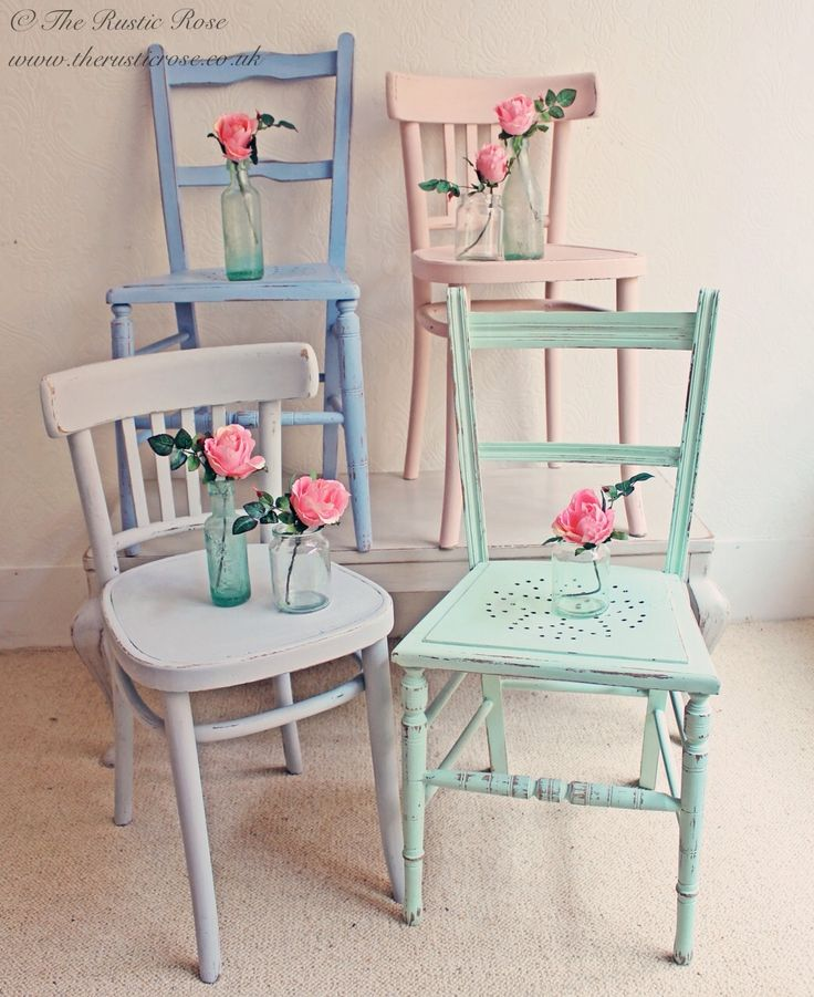#Vintage chairs painted in pretty candy colours...shabby chic cabin beach decor