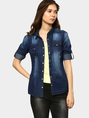 Bare Denim by Pantaloons Women Dark Blue Regular Fit Denim Shirt Front View