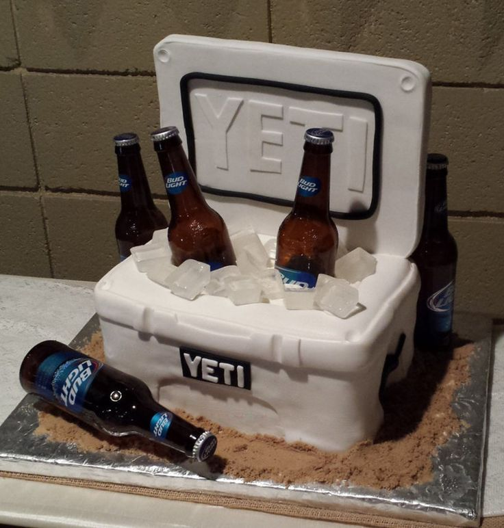 It's a YETI cooler CAKE!  Love it!  Neat idea for a grooms cake...shouldn't be THAT hard to make.