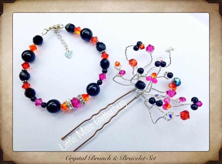 Crystal branch hairpin and bracelet set  LittleMissGlitterbug on Facebook