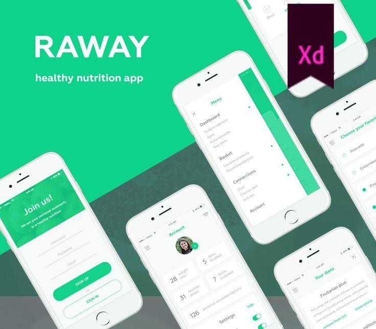 """다음 @Behance 프로젝트 확인: """"Raway - app for healthy nutrition"""" https://www.behance.net/gallery/51594327/Raway-app-for-healthy-nutrition"""
