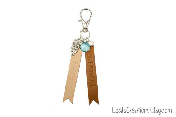 Personalized leather keychain, with your own text, with charms, leather key chain, leather key fob, leather key ring. LeafsCreations.