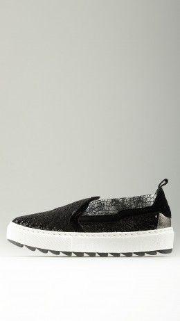 Black sequined platform slip-on shoe