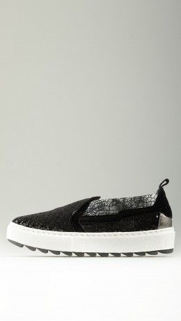 Black sequined platform slip-on shoe