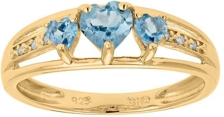 Fine Jewelry Genuine Blue Topaz and Diamond-Accent 3-Stone Heart Ring XRYdF
