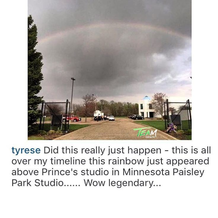 Beautiful! R&B's #Tyrese posts rainbow above #Prince's Paisley Park studio.