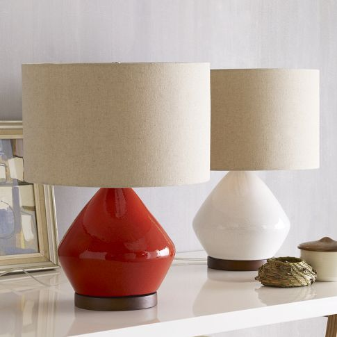 Mmmm, red...Side Tables, Table Lamps, Rustic Wood Furniture, Living Room, Bedside Lamps, Tables Lamps, Red Lamps, West Elm, Mia Tables