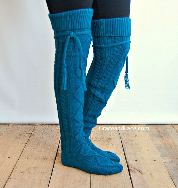 alpine thigh high slouch sock winter teal thick cable