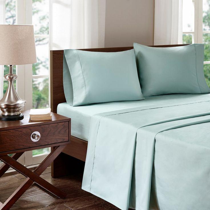 Madison Park 400 Thread Count Aloe Vera Cotton Sheet Set, Green Cal King