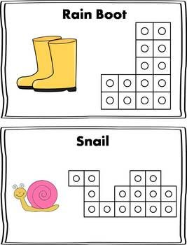 Here is a fun Spring themed math center to use during the spring season months! Students will select a card, and use snap cubes to replicate the picture on the card. Then they can count the number of cubes used to make the shape and record it on their recording sheet!