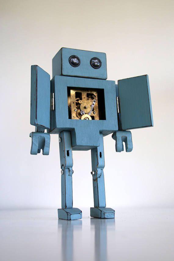 Vintage wooden robot