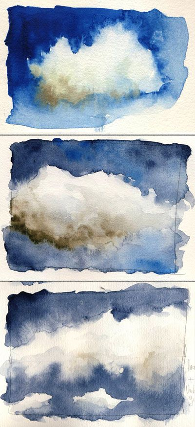 clouds - watercolor Bo Soremsky: Übung A set of three images - experimentation