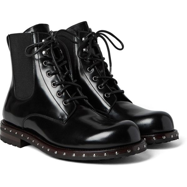 Dolce Gabbana Studded Patent-Leather Boots ($1,005) ❤ liked on Polyvore featuring men's fashion, men's shoes, men's boots, mens military boots, mens patent leather shoes, mens black studded shoes, mens black shoes and mens black patent leather shoes