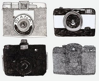 Clare Owen Illustration-Cameras The work in this image creates an interesting aspect to the basic shape of the cameras