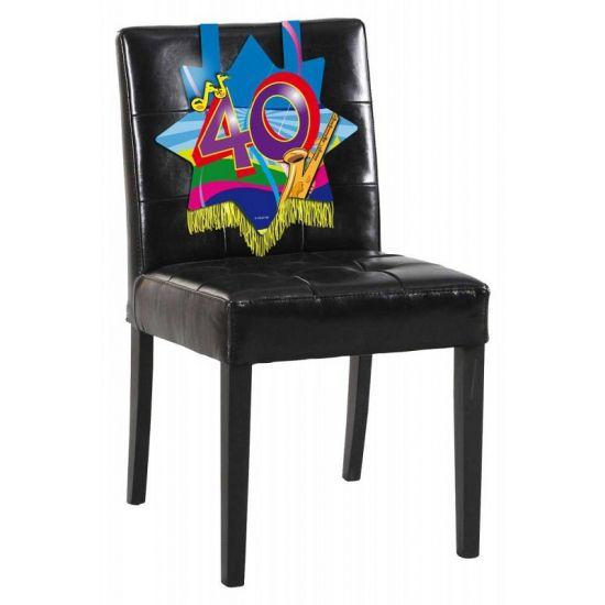 Stoeldecoratie 40 jaar. Mooie verjaardags decoratie voor op de stoel voor iemand die 40 jaar geworden is! De versiering is ongeveer 34 x 36.5 cm groot.