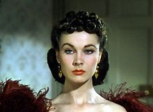 """Vivien Leigh as Scarlett O'Hara -  Vivian Mary Hartley, later known as Vivien Leigh (1913 – 1967), was an English stage & film actress.  She won an Academy Award for Best Actress for her performance as """"Southern belle"""" Scarlett O'Hara in Gone with the Wind (1939). Gone with the Wind brought Leigh immediate attention & fame; but she was quoted as saying, """"I'm not a film star – I'm an actress. Being a film star – just a film star – is such a false life, lived for fake values & for publicity."""